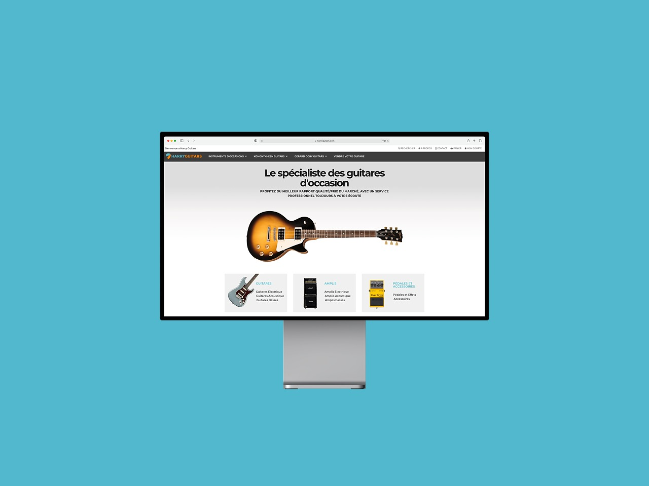Wordpress, WooCommerce shop and custom designed logo - Harry Guitars now has a site to be proud of.